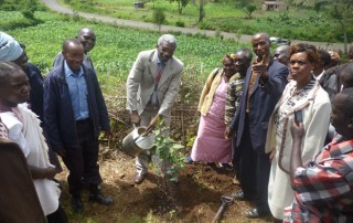 Sub county Administrator Baringo Central planting a tree at Morop in Baringo County