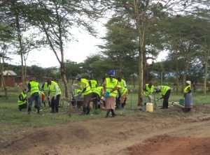 Ikuyuni youth group given tools with safety gear as they prepare to start the Do-nou training at Makueni
