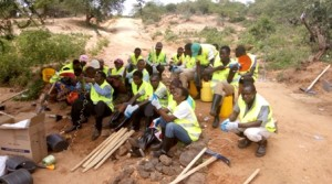 Masongaleni youth group given safety gear during do-nou implementation at Makueni County