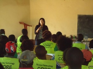 CORE CEO Yuka Iwamura , Talking during workshop for handing over certificates to trained  youths on Do-nou Technology at Makueni County .